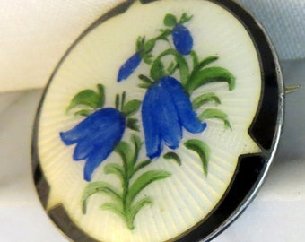 Hans Myhre Norway Guilloche Painted Blue Bell Flowers Enamel Sterling Silver Brooch Pin Scandinavian