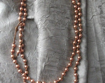 Rose Gold Plate Bead and Leather Knot Necklace -- Bead and Leather Necklace -Renaissance Rose