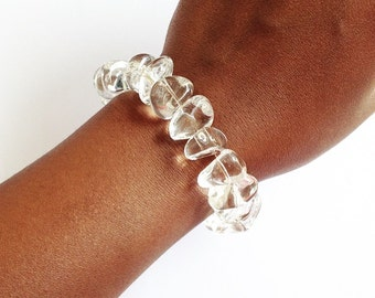 Crystal Bracelet. Polished Clear Crystal Quartz Bracelet.