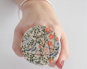 Big Ring Ceramic Handmade - big bold oversize adjustable cocktail ring -  COTTAGE GARDEN -  2.5 inch