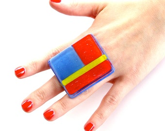 Mosaic Glass Cocktail Ring  - big ring,  bold ring, fused glass statement cocktail ring - DARLING DIVA -  2.1 inch