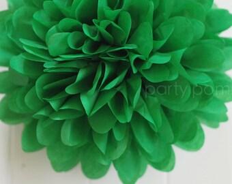 Green Tissue Paper Pom Poms- Wedding, Bridal Shower, Party Decorations