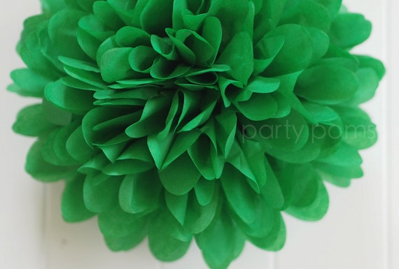 Green Tissue Paper Pom Poms- Wedding, Bridal Shower, Party Decorations