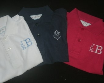 Toddler Youth Monogrammed Polo Shirt Personalized School Uniform SHORT SLEEVE