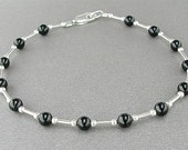 Black Onyx Bracelet with Sterling Silver Spacers in Small to Large Sizes