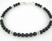 Black Onyx Bracelet with Sterling Silver Accents -Black Onyx Jewelry - Small to Plus Size  Bracelet  - 7 Inch, 8 Inch, 9 Inch, or 10 Inches