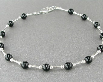Black Onyx Bracelet with Sterling Silver Spacers - Small to Large Size or Plus Size Bracelet