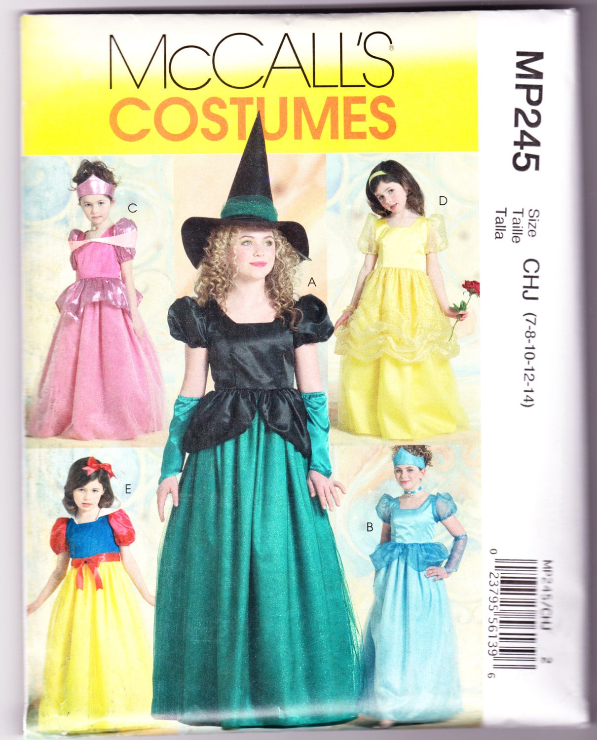 Girls Princess and Witch Costume Childs Size 7-8-10-12-14 McCalls ...