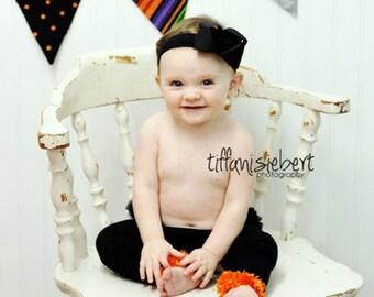 Orange and Black Halloween Baby Toddler Leg Warmers