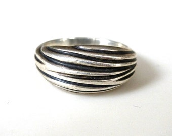 Wave Ring // Carved Sterling Silver size 6 1/2 // one of a kind