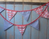 Classic Union Jack Bunting.  Colours - Red, White and Blue.  Fabric Patterns -  Union Jack Flags and Gingham. 3m Strand.