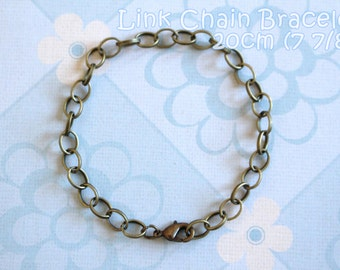6 Antique Bronze Lobster Clasp Link Chain Bracelet  - 7 7/8 inches
