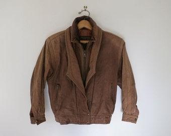 MIDNIGHT COWBOY // brown leather 1970s biker jacket