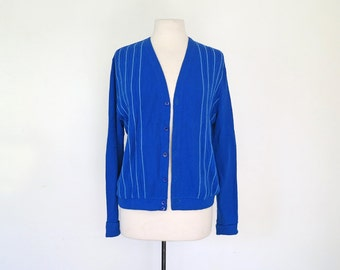 COBALT // blue 1970s dad cardigan M / L