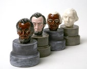 George Washington Abe Lincoln Ceramic Salt and Pepper Shakers  (2) Multi Cultural Editions