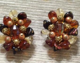 SALE Vintage W Germany Beaded Cluster Earrings