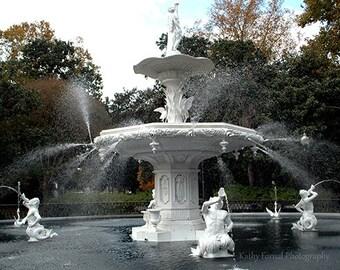 Savannah Photography, Forsyth Fountain Square Fine Art Print, Savannah Georgia Historical Landmark Photos, Savannah Park Fountains Sculpture