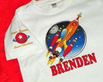 Rocket Ship Birthday Shirt With Planet on Sleeve. Space Birthday Shirt. Space Birthday Party. Rocket Ship Shirt. Short or Long Sleeves
