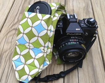 Monogramming included Wide Camera Strap for DSL camera Robbing Peter To Pay Paul print with lens cap pocket