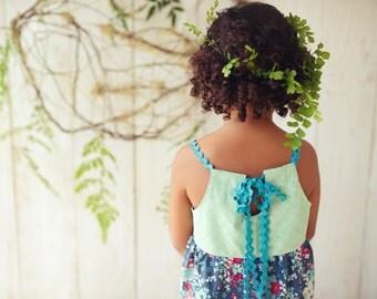 SALE - Children's Clothing - Girl's Dress 'Sweet Reverie' Green, Floral, Teal Ric Rac straps - Quality Handmade Girl's Dress