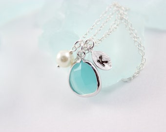 Bridal Jewelry Mint Glass Pendant with Initial Bridesmaid Necklace