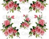 Instant Digital Download Cottage Cabbage Pink Roses Vintage Era Transparent Background PNG - U Print ECS