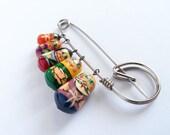 Matryoshka Family Pin - Russian Dolls Family Colorful Painted Brooch