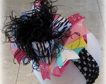 Over the Top Hair Bow, Zebra Hair Bow, Party Hair Bow, Photo Prop Bow, Boutique Hair Bow, Zebra Bows, Girls Zebra hairbow, Baby Zebra Bow