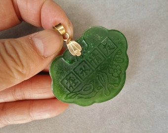 Vintage 14k Spinach Green Jade Pendant Best Friends Forever