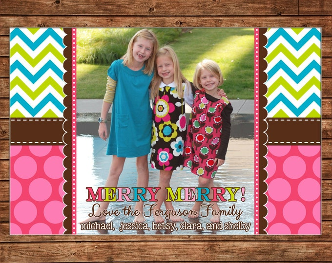Photo Picture Christmas Holiday Card Multi Chevron and Polka Dot - Digital File