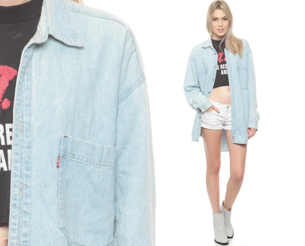 levis denim shirt 90s faded light blue jean shirt levi. Black Bedroom Furniture Sets. Home Design Ideas