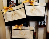 Personalized Monogram Embroidery Bridesmaid, Bride, Bridal Party Gift Tote Bags, Set of 3