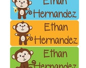 30 personalized waterproof labels name stickers monkey (No.N6B) - laser printed blue green orange