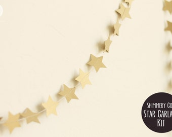 DIY Shimmery Gold Star Garland (8')