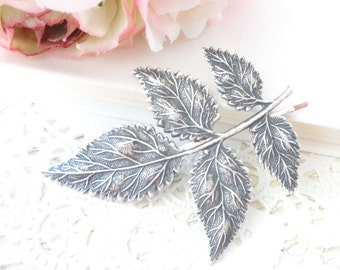 Sterling Silver Plated Leaf Branch Hair Pin - Woodland Collection - Whimsical - Nature - Bridal