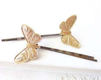 Gold Butterfly Hair Pins - Butterfly Bobby PIn - Woodland - Wings - Flight - Bridal Hair