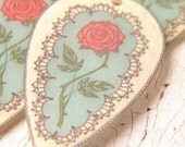 Charlotte ~ lacy rose shield focal pendant in ivory, soft aqua, coral pink - handcrafted by Bethanne (ready to ship)