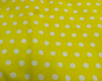 Polka dot print fabric periwinkle yellow
