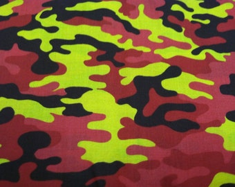 Camouflage print fabric in red and yellow