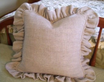 Linen Pillow 24 inch Square Ruffled French Country Pillow