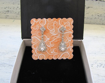 Eearrings Display Card - Peach Blank Scalloped Square Tag
