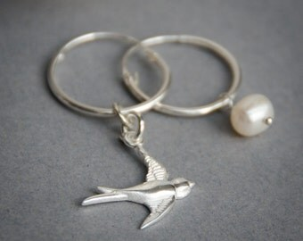 Lucky bird and pearl earrings