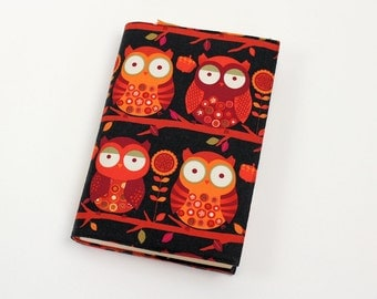 Owls Paperback Book Cover - in Orange and Black Cotton Fabric -Trade Size Book Cover