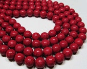 "7.5"" STRAND - Reconstituted Howlite Beads - 11mm Rounds - Cherry Red (7.5"" strand - 18 beads) - str588"