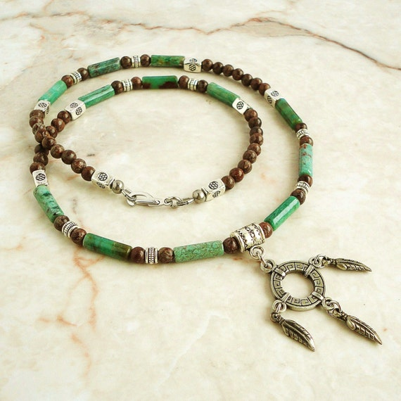 Men's Necklace, Green African Jade & Brown Jasper Mens Beaded Necklace, Handmade Jewelry for Men, Tribal, Native American