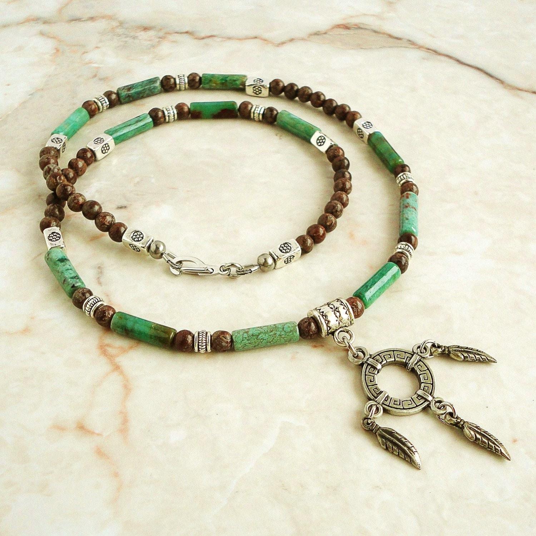 s necklace green jade brown jasper mens