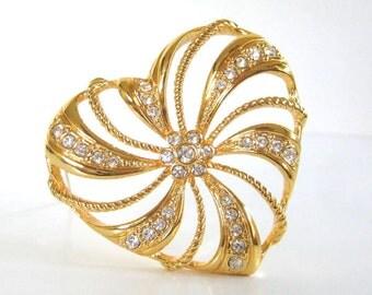 Vintage 90's Avon // Gold Rhinestone Trellis Heart Pin