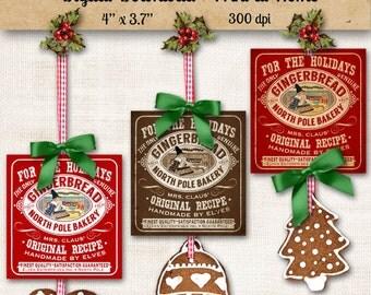 Gingerbread Christmas Label Printable Digital Download DIY Vintage Style Clip Art Graphic Images Collage Sheet