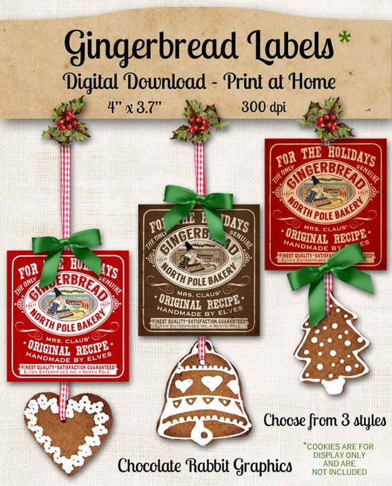 Gingerbread Christmas Label Printable Digital Download DIY Vintage Style Clip Art Graphic Images Collage Sheet