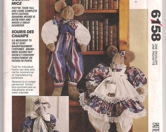 Mice Dolls w Clothes McCalls 6158, Boy and Girl, 28 inch doll, Mouse Doorstop, 20 inch doorstop, 90s craft pattern Faye Wine, Uncut